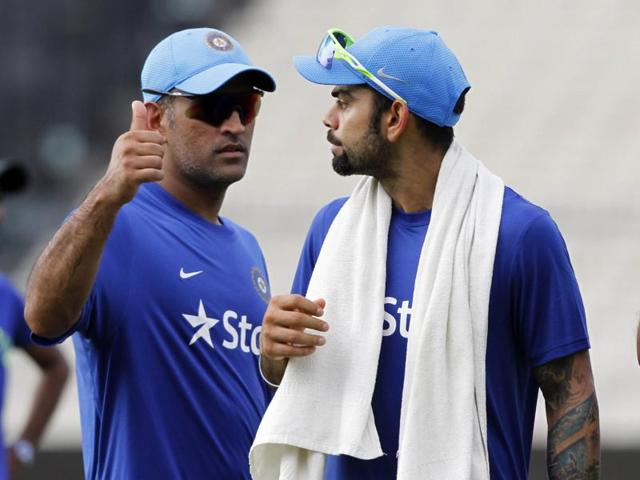 MS Dhoni and Virat Kohli  during the training session on the eve of the 3rd T20 against South Africa, at Eden Gardens, on Wednesday.