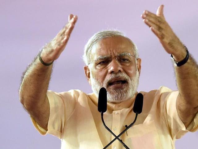 File photo of Prime Minister Narendra Modi addressing the gathering during the stone laying ceremony of Mumbai Metro in Mumbai .