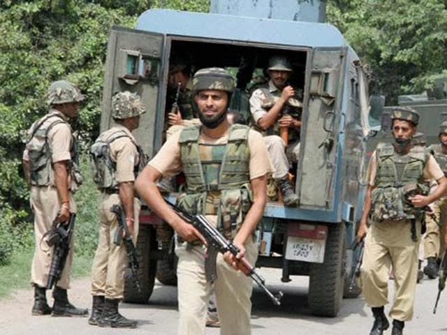 A file photograph of security forces deployed in Jammu and Kashmir.