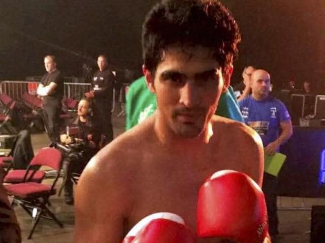 Indian boxer Vijender Singh before his bout against England's Sonny Whiting during first professional boxing bout at Manchester Arena, UK on Saturday.
