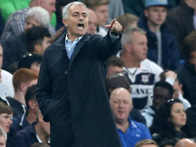 Chelsea's Portuguese manager Jose Mourinho gestures during the EPL match between Chelsea and Southampton at Stamford Bridge in London, on October 3, 2015.