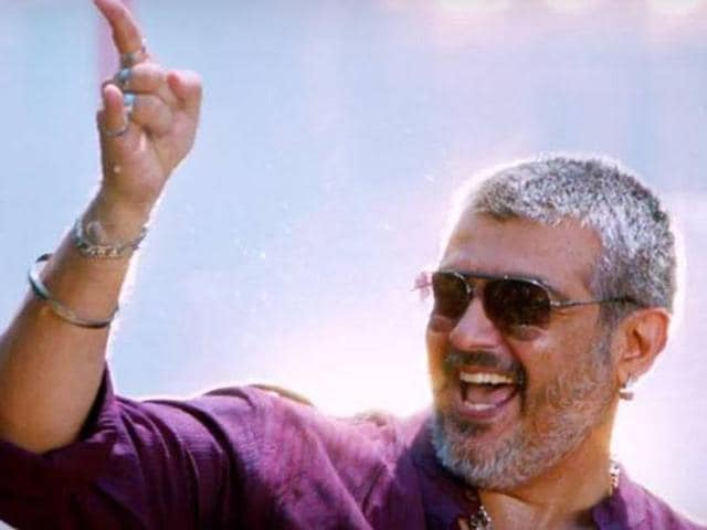 Thala Ajith in a still from Aaluma Doluma. The song got 2.5 lakh hits on YouTube in 11 hours.