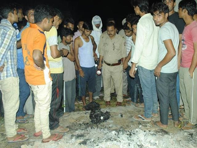 """""""The carcass of the animal was sent for testing and it was found to be of a dog. The miscreants had dumped the body and set it afire. They are being traced. The police will remain deployed till further orders,"""" a police spokesperson said."""