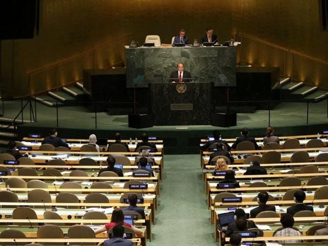 Muhammad Nawaz Sharif, Prime Minister of Pakistan, speaks to the United Nations General Assembly.