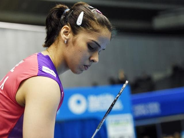 Saina Nehwal in action against Busanan Ongbumrungphan of Thailand during the Japan Open Superseries in Tokyo, on September 9, 2015.