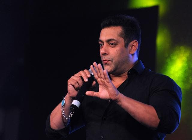 Salman Khan speaks onstage during a promotional event in Mumbai on late October 2, 2015.