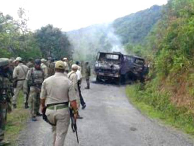 Militants armed with advanced weapons ambushed a military convoy in Manipur's Chandel district bordering Myanmar, killing at least 18 soldiers.