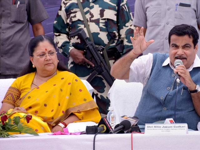 Nitin Gadkari with Rajasthan chief minister Vasundhara Raje addressing the press conference in Kotputli district of Jaipur on Thursday.