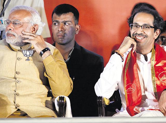 Prime Minister Narendra Modi and Shiv Sena party chief Uddhav Thackeray during an election rally at BKC in Mumbai.