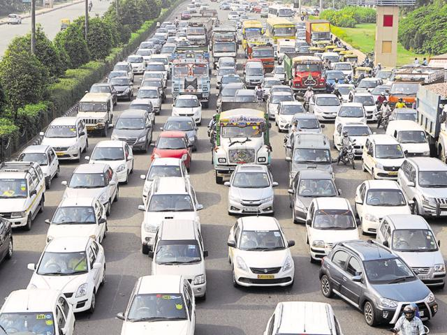 Traffic movement was badly affected between 8am and 2pm and vehicles headed towards Greater Noida from Delhi and Noida moved at a snail's pace.