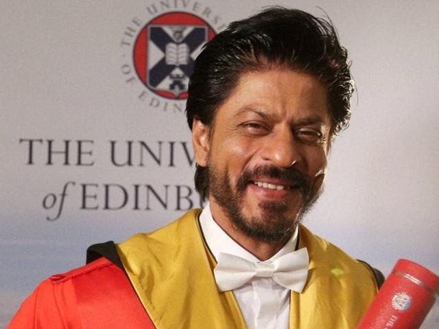 Bollywood star Shah Rukh Khan smiles after receiving an honorary degree from the University of Edinburgh, Scotland.