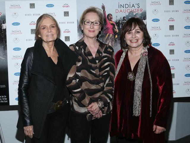 Gloria Steinem, Meryl Streep and Leslee Udwin attend the New York Premiere of India's Daughter at NYIT Auditorium on October 14, 2015 in New York City.