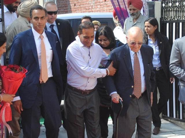 US ambassdor to India Richard Rahul Verma (second from left) along with his father Kamal verma (first from right) at their native village Apra on the outskirts of Jalandhar.