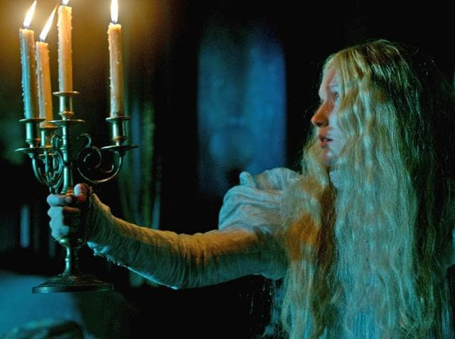 Mia Wasikowska as Edith Cushing in a scene from Legendary Pictures' Crimson Peak, a gothic romance from director, Guillermo del Toro.