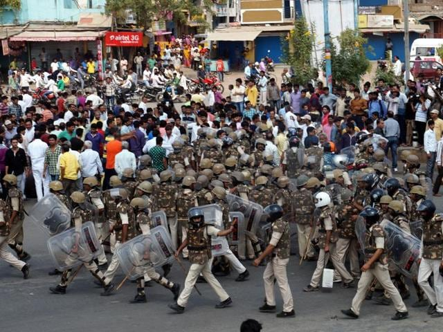 Heavy police force was deployed to contain any untoward incident at Moosakhedi in Indore on Friday.