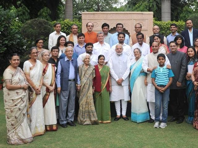 Prime Minister Narendra Modi and Union home minister Rajnath Singh pose with family members of Netaji Subhas Chandra Bose in New Delhi.