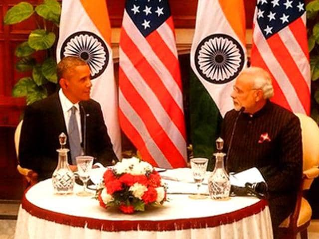 File photo of Prime Minister Narendra Modi and US President Barack Obama during 'Walk and Talk' at Hyderabad House in New Delhi.