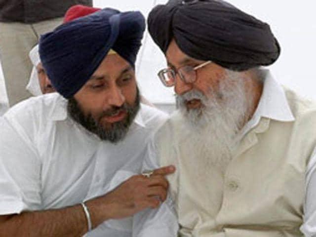 Punjab deputy CM Sukhbir Singh Badal  with CM Parkash Singh Badal.