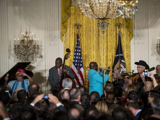 Members of the Buena Vista Social Club perform during an event to mark the 25th Anniversary of the White House Initiative on Educational Excellence for Hispanics.