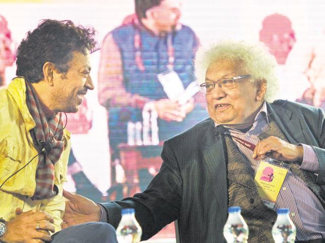 Irfan Khan with Meghnad Desai, in conversation with Rupleena Bose during the Jaipur Literature Festival, at Diggi Palace on January 18, 2013 in Jaipur, India.(Photo by Vipin Kumar/Hindustan Times)