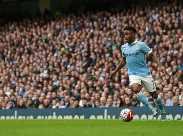 Manchester City's Raheem Sterling scores their fourth goal and completes his hat-trick.