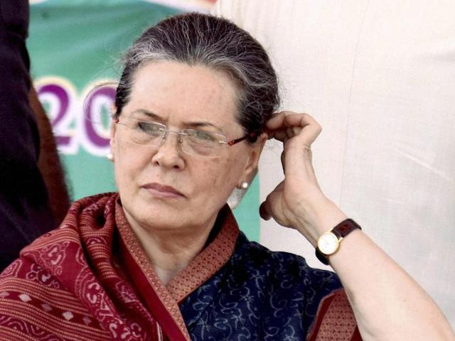 Congress president Sonia Gandhi during an election rally in Buxar.