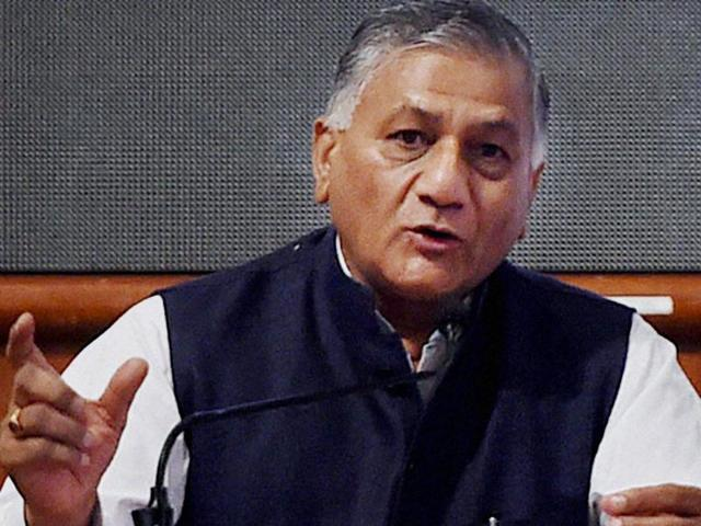 Union minister of state for development of north eastern region VK Singh addresses the gathering during a felicitation ceremony in Mumbai.