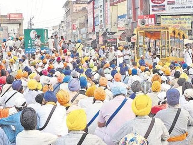The state has witnessed a spate of protests (above) last week over alleged desecration of Sikh holy books and two persons lost their lives in police action, prompting chief minister Parkash Singh Badal to appeal for calm.