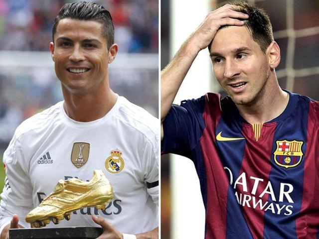 A composite photograph of Cristiano Ronaldo, left, and Lionel Messi.