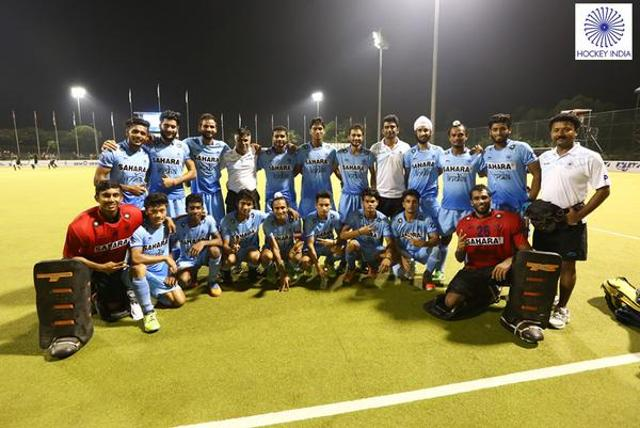 The Indian junior men's hockey team after defeating Australia in the semifinal of the Sultan of Johor Cup on October 17.