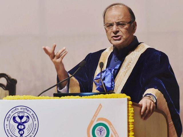 Union finance minister Arun Jaitley addresses the 43rd Annual Convocation of AIIMS in New Delhi on Sunday.