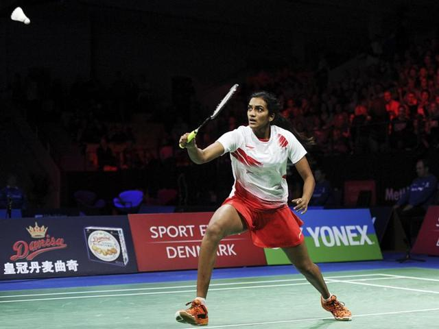 PV Sindhu of India in action against Carolina Marin of Spain during the semi-final of the Denmark Open Badminton tournament in Odense, Denmark, on October 17, 2015.