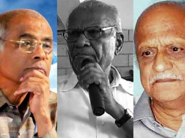 Combination photo of Narendra Dhabolkar, Govind Pansare and MM Kalburgi.