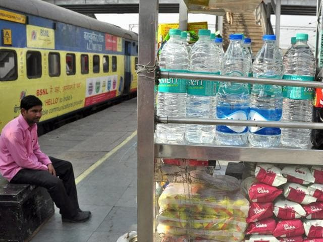 Bottles of packaged drinking water on sale at Ludhiana railway station.