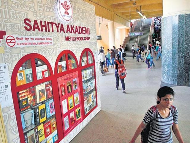 Writing on the wall: A Sahitya Akademi outlet at a Delhi Metro station.