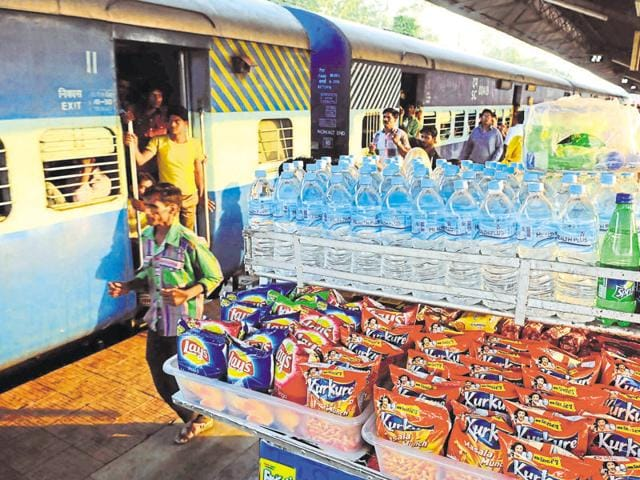 Local brands of water bottles being sold at the Bhopal railway station on Sunday.