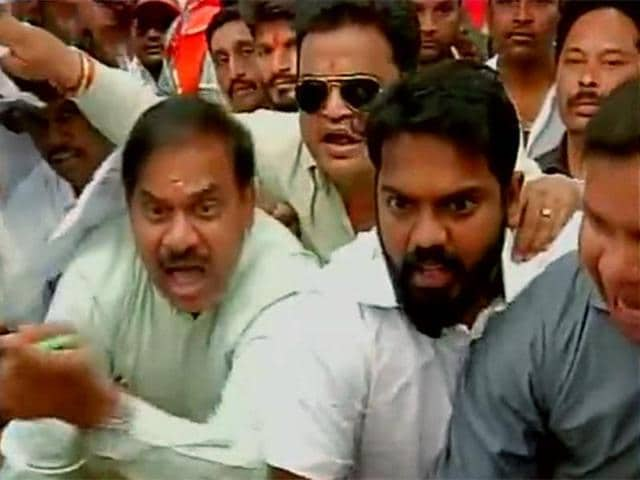 "Shiv Sena workers storm the BCCI office in Mumbai and ""gherao"" BCCI Chief Shashank Manohar's desk."