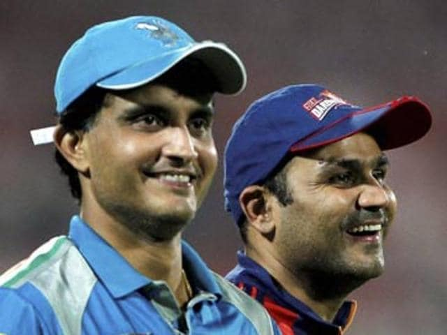 Sourav Ganguly and Virender Sehwag during IPL.