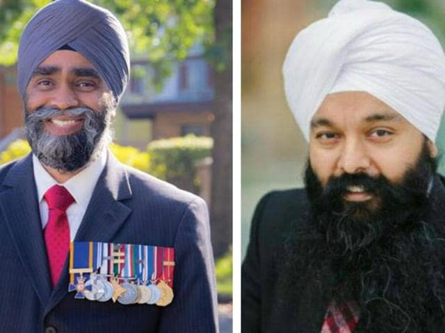 (L-R): Lt Col Harjit Singh Sajjan and Randeep Singh Sarai are the twoSikhs elected to the Canadian Parliament in the Canadian elections.