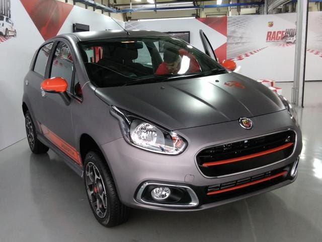 Fiat Chrysler Automobiles India president and MDKevin Flynn at the launch of Fiat Abarth Punto in New Delhi on Monday.