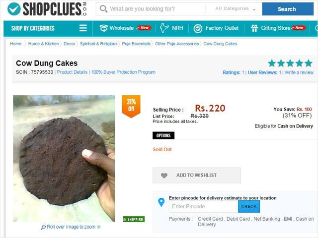 ShopClues is selling cow dung, and the offer is flying off the shelves.