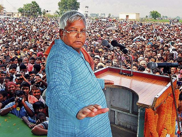 RJD chief Lalu Prasad addressing a election rally in Lakhisarai, Bihar on Tuesday.