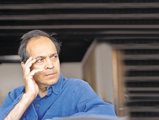 Indian writer Vikram Seth poses during a portrait session held in Venice.