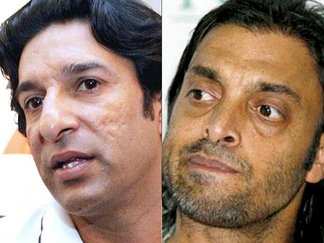 Wasim Akram, left, and Shoaib Akhtar will not commentate during the fifth India-South Africa ODI in Mumbai due to security concerns.