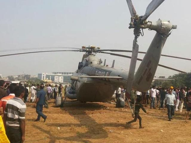 An Indian Air force (IAF) helicoptor MI 17 landed at the MMRDA grounds in Bandra Kurla complex of Mumbai on Wednesday after it developed a technical snag.