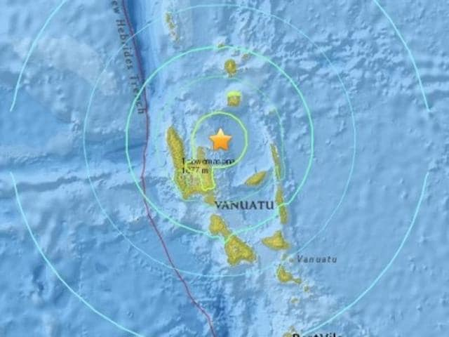 Epicentre of the quake that hit Vanuatu on Wednesday.
