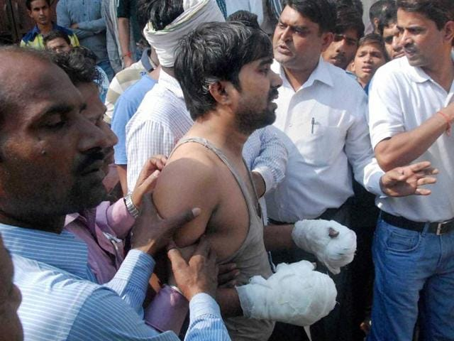 A member of the Dalit family whose house was set on fire in Faridabad's Ballabgarh.