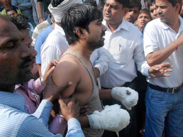 Jitendra Kumar's house was allegedly torched by Rajput men on Tuesday, in Ballabgarh, Faridabad.