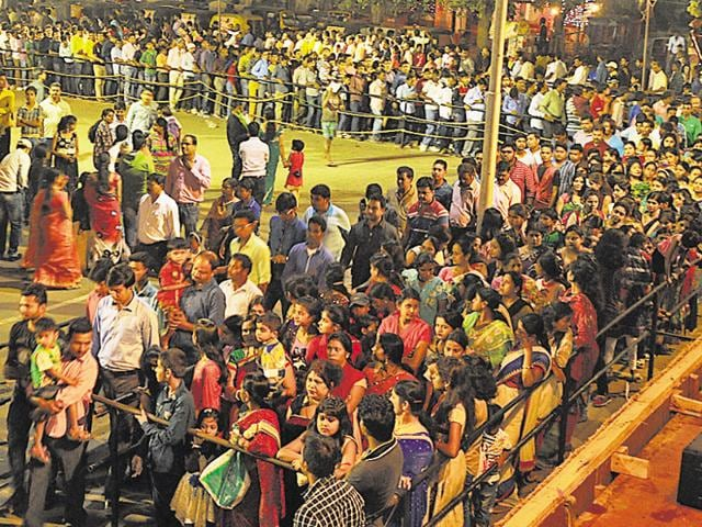 Arush of devotees at a puja pandal in Ranchi on Tuesday.