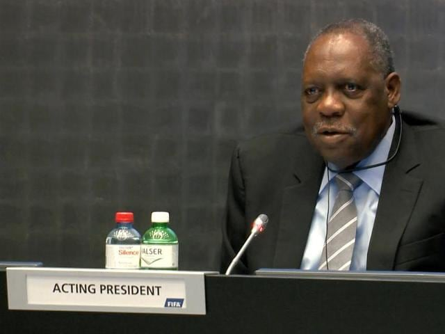 Fifa's acting president Issa Hayatou at an extraordinary executive committee meeting at the football's world body headquarters in Zurich, on October 20, 2015.